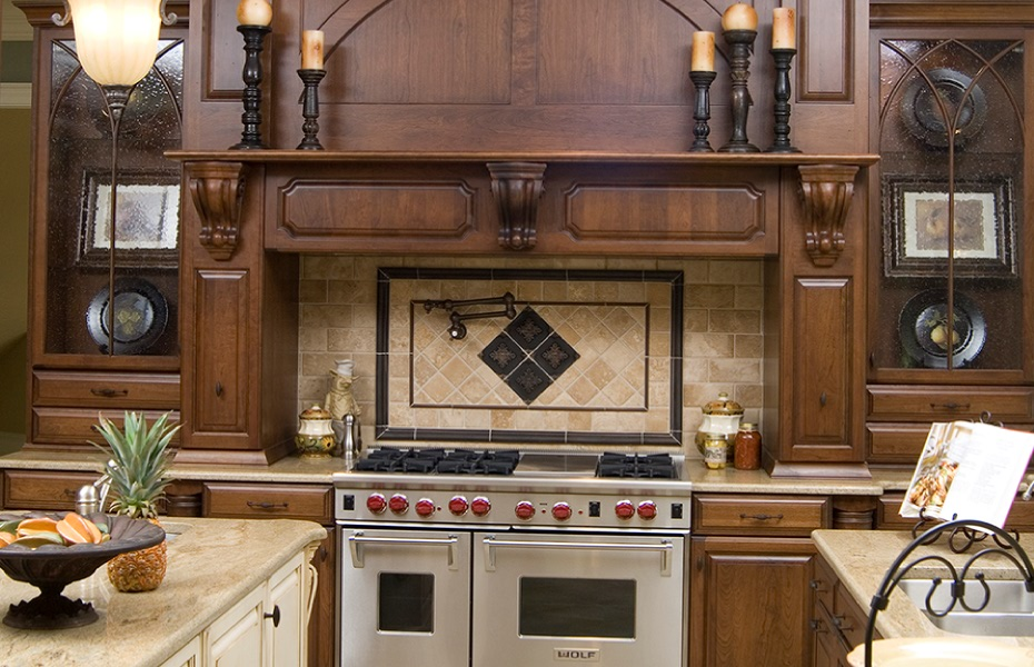 ... Carolina; Built-in range hood with Wolf 48  Range and hidden spice racks in kitchen & Home - Carolina Cabinet Specialist